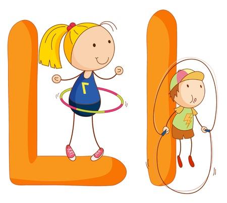 alphabet: Illustration von Kindern in einem Brief des Alphabets Illustration