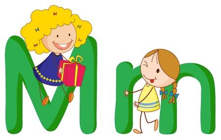 アルファベットの手紙の中で子供たちのイラスト