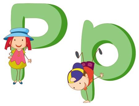 lowercase: Illustration of children in a letter of alphabet