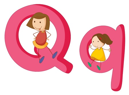 letter q: Illustration of children in a letter of alphabet