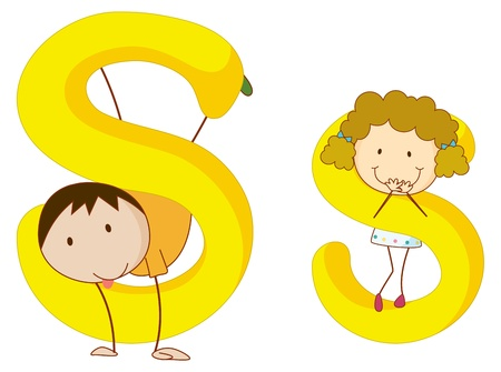 children s: Illustration of children in a letter of alphabet