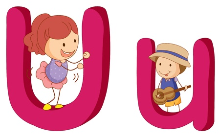 Illustration des enfants dans une lettre de l'alphabet