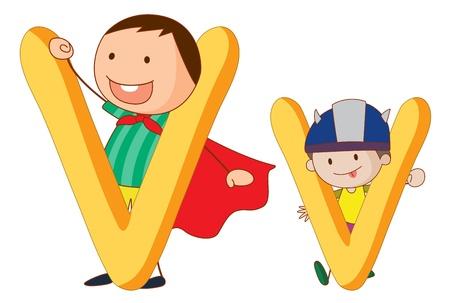 animated boy: Illustration of children in a letter of alphabet