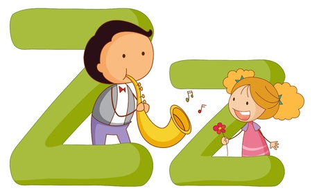 vowel: Illustration of children in a letter of alphabet