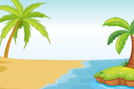 desert island: illustration of a palm and coconut tree on sea shore