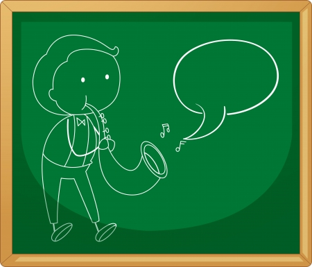 chalk outline: illustration of a green board with sketch