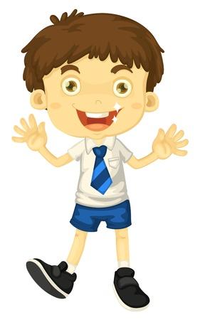 white uniform: illustrtion of a boy in school uniform on white Illustration