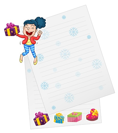 illustration of a girl and paper on a white background Stock Vector - 14887501