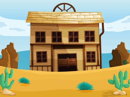 western town: illustration of a house on a white background