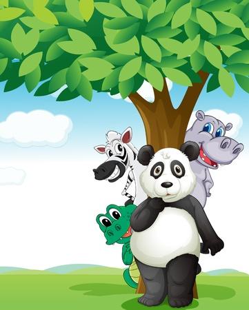under the tree: Ilustraci�n de un grupo de varios animales bajo el �rbol