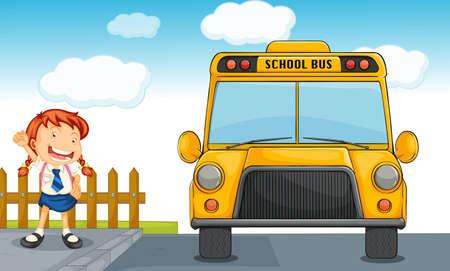 1 school bag: illustration of school bus and girl