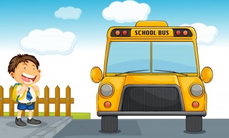 student travel: illustration of school bus and boy Illustration