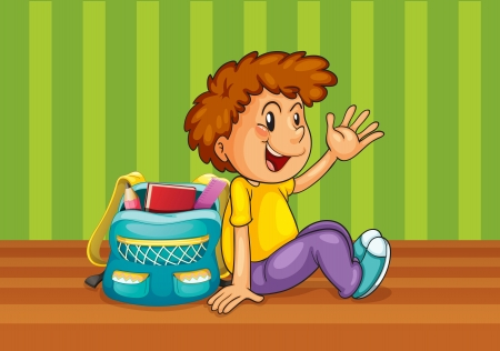 illustration of a boy with school bag in the room Vector