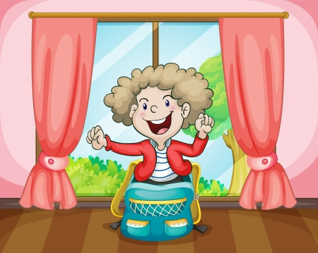 curly hair child: illustration of a boy in a bag near window