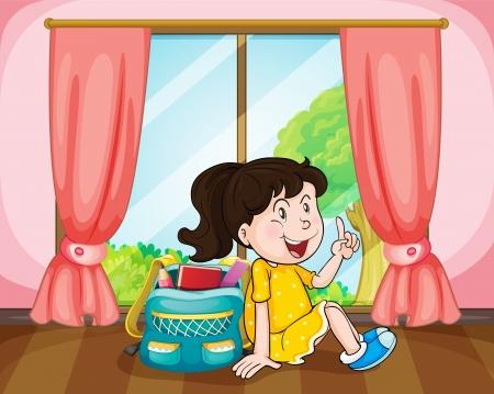 illustrazione di una ragazza con una borsa vicino a finestra Vettoriali
