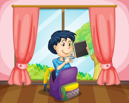 prepare: illustration of a boy in a bag near window holding book Illustration