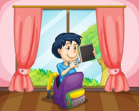 Illustrazione di un ragazzo in un sacchetto vicino libro finestra tenendo