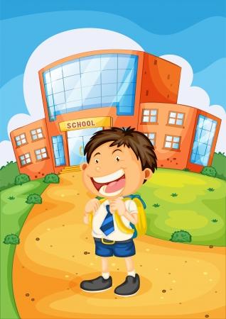 illustratie van een jongen infront van de school