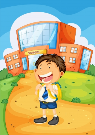 1 school bag: illustration of a boy infront of school