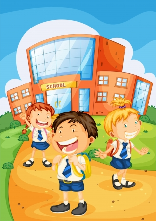 school girl uniform: illustration of a kids infront of school