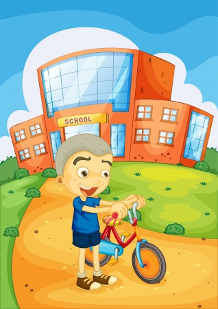 illustration of a boy infront of school Stock Vector - 14887493