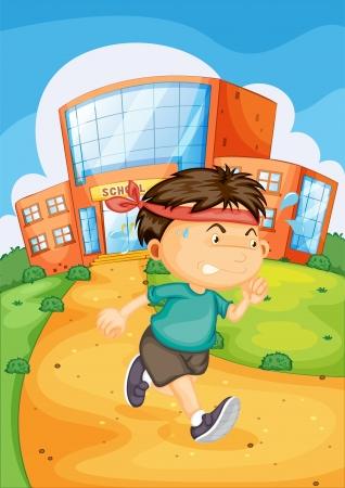patio escuela: ilustraci�n de un ni�o enfrente de la escuela