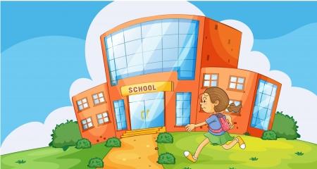 1 school bag: illustration of a girl running infront of school