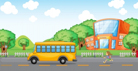 1 school bag: illustration of a girl running behind school bus infront of school