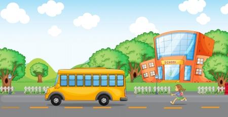illustration of a girl running behind school bus infront of school Stock Vector - 14892199