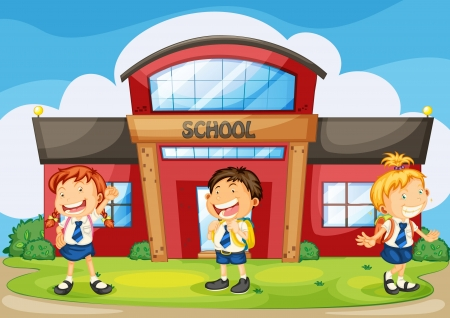 school uniform: illustration of a kids infront of school