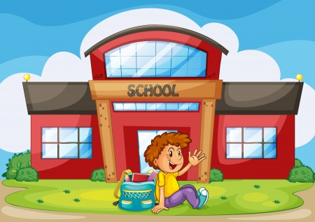 school kid: illustration of a boy infront of school