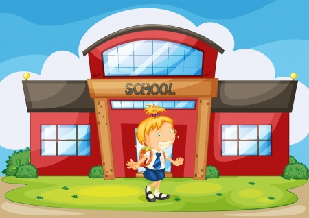 illustration of a girl infront of school Stock Vector - 14887301