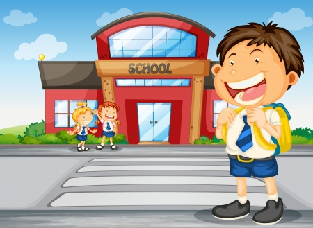 school uniform girl: illustration of a kids infront of school