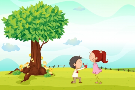 schoolyard: illustration of kids playing around tree in a nature