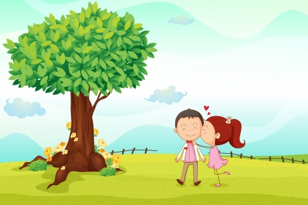 illustration of kids playing around tree in a nature Vector