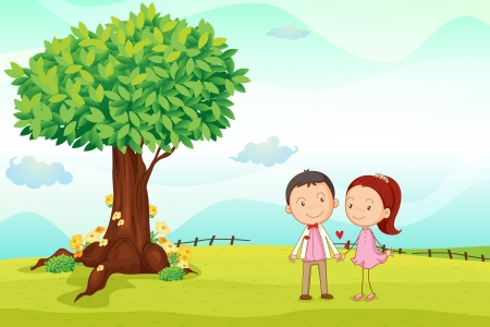 heart under: illustration of kids playing around tree in a nature