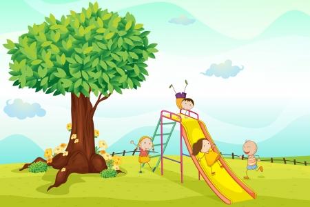 ni�os jugando parque: ilustraci�n de ni�os jugando en la naturaleza Vectores
