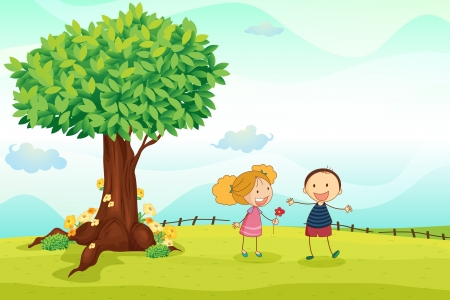 young girls nature: illustration of kids playing in the nature