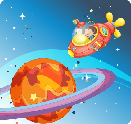 spaceships: illustration of a kids in spaceship and saturn