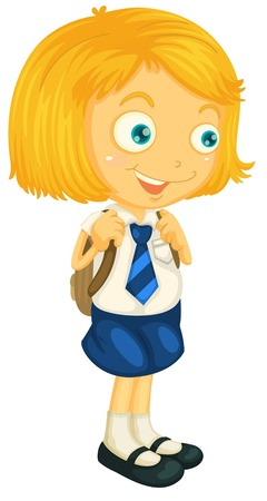school uniform: illustrtion of a girl in school uniform on white