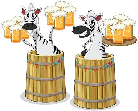 jarra de cerveza: ilustración de dos cebras con jarra de cerveza Vectores