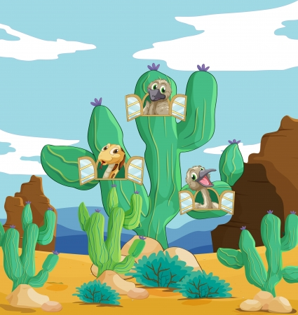 illustration of various animals and cactus plant
