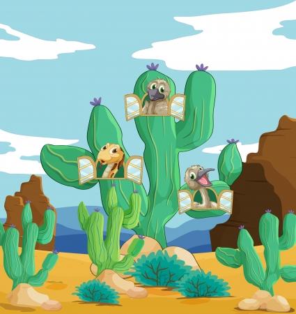 animales del desierto: ilustración de diversos animales y plantas cactus Vectores