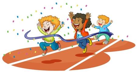 winning race: illustration of boys playing on ground