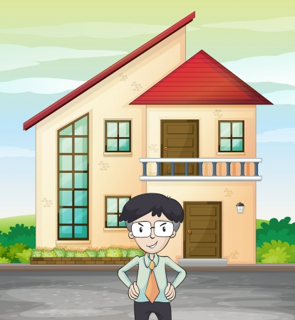 illustration of a man infront of house Vector