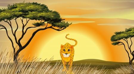illustratie van een luipaard in de natuur