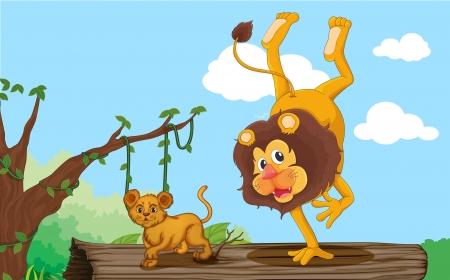 illustration d'un lion et lionceau dans la jungle