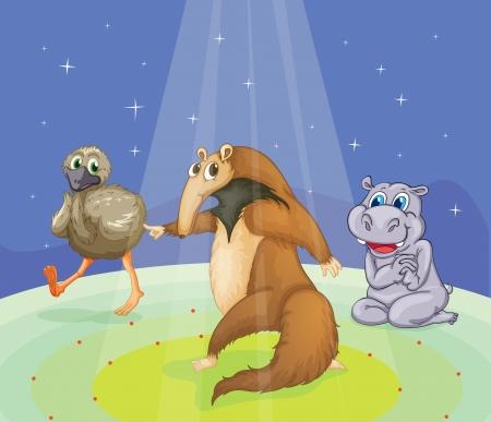 nutria caricatura: Animales realizan en una etapa