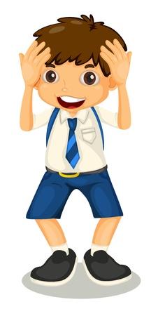 illustrtion de un niño con el uniforme escolar en el blanco