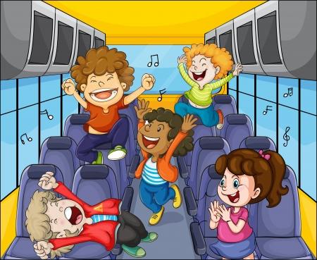 歌: バスの中で子供たちのイラスト  イラスト・ベクター素材